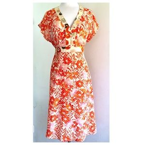 Odille (Anthro) Asian Floral Silk Dress Size 8